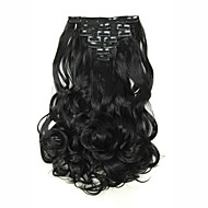 Hairpiece 17inch 160g 16 Clips 7pcst Synthetic Hair Extension Long Wavy Hair Clip In Hair Extensions Heat Resistant D1016 1B#