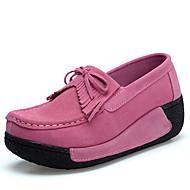 Damen-Flache Schuhe-Kleid Lässig-Wildleder-Plateau-Plateau-Schwarz Blau Rosa Rot Grau