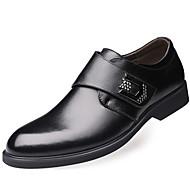 tanie Small Size Shoes-Męskie Buty Nappa Leather Wiosna Jesień Comfort Oksfordki na Casual Biuro i kariera Na wolnym powietrzu Impreza / bankiet Black Light
