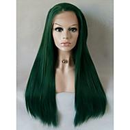 Kadın Sentetik Peruklar Ön Dantel Orta Uzun Düz Yeşil Doğal saç çizgisi Yan Parti Doğal Peruk Cadılar Bayramı Peruk Karnaval Peruk kostüm