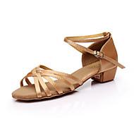 baratos Sapatilhas de Dança-Mulheres Sapatos de Dança Latina Seda Sandália Cadarço de Borracha Salto Robusto Personalizável Sapatos de Dança Marron / Leopardo / Nú / Interior / Couro
