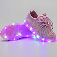 Girls' Sneakers Light Up Shoes Tulle Summer Fall Casual Outdoor Light Up Shoes LED Low Heel Black Dark Blue Dark Grey Blushing PinkUnder