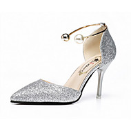 Women's Sandals Summer Comfort PU Outdoor Walking Stiletto Heel Silver Black Gold