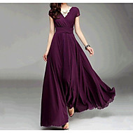 Women's Party Going out Sophisticated Maxi Dress - Solid Colored V Neck Spring Purple Light Green Lavender M L XL
