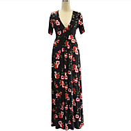 cheap -Women's Plus Size Boho Maxi Swing Dress Print Deep V Summer Black 4XL XXXXXL XXXXXXL