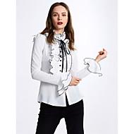 Langærmet Solid Tynd Damer Ensfarvet Forår Efterår Simple Afslappet/Hverdag Skjorte,Polyester