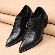 Herren Schuhe Leder Frühling Herbst Komfort Neuheit formale Schuhe Outdoor Walking Schnürsenkel Für Hochzeit Party & Festivität Schwarz