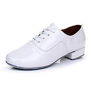 baratos Sapatilhas de Dança-Homens Tênis de Dança Couro Sola Inteiras Salto Robusto Personalizável Sapatos de Dança Branco / Preto / Interior