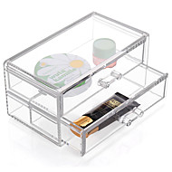 cheap Storage & Organization-Acrylic Transparent Complex Combined Large Capacity Quadrate Double 2 Layer Makeup Cosmetics Storage Drawer Cosmetic Organizer Jewelry Display Box
