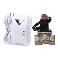 Autônomo lpg gás natural detector de vazamento de alarme com dn20 eletromagnética válvula solenóide para fuga de gás auto desligado para