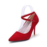 tanie Obuwie damskie-Damskie PU Wiosna / Lato Modne obuwie / Klub Buty / formalne Buty Szpilki Spacery Szpilka Nasek w szpic Klamra Czarny / Czerwony / Różowy