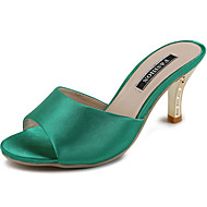 Női Szandálok Kényelmes Szövet Nyár Hétköznapi Gyalogló Kényelmes Kombinált Stiletto Fekete Piros Zöld 2 inch-2 3 / 4 inch