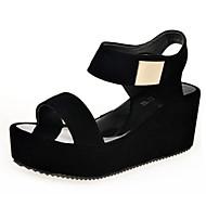 baratos Sapatos Femininos-Mulheres Sapatos Couro Ecológico Verão Conforto Saltos Salto Plataforma Dedo Aberto Elástico Branco / Preto / Calcanhares