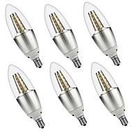 お買い得  LEDキャンドルライト-6本 5W 500lm E14 LEDキャンドルライト C35 35 LEDビーズ SMD 3528 装飾用 温白色 ホワイト 110-130V 220-240V