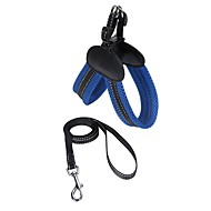 Dog Harness Leash Adjustable / Retractable Breathable LCD Display Safety Running Solid Mesh