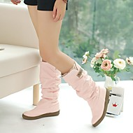 Women's Boots Fall Winter Comfort Leatherette Dress Casual Flat Heel Buckle Walking