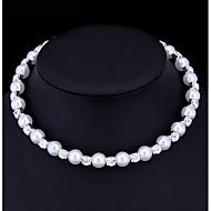 女性用 真珠 キュービックジルコニア チョーカー  -  人造真珠, キュービックジルコニア レディース, ベーシック ホワイト ネックレス ジュエリー 用途 結婚式, パーティー, 婚約, 贈り物, カジュアル, バレンタイン
