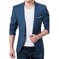Erkeklerin Sade Günlük / İş / Resmi Akrilik / Polyester Uzun Kollu Blazer Ceket Siyah / Mavi / Kırmızı / Gri