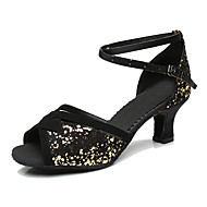 Pentru femei Pantofi Dans Latin Paillertte / Microfibră PU sintetică / Mătase Călcâi Toc Personalizat Personalizabili Pantofi de dans Mov
