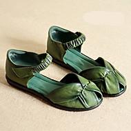 hesapli -Kadın's Ayakkabı PU Yaz Topuktan Bağlamalı Düz Ayakkabılar Kalın Topuk Günlük için Siyah Gri Yeşil