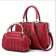 baratos -Mulher Bolsas Todas as Estações Couro Ecológico Conjuntos de saco 2 Pcs Purse Set para Rosa Pálido Cinzento Escuro Azul Escuro Cinzento