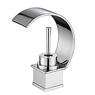 cheap Bathroom Sink Faucets-Contemporary Art Deco/Retro Centerset Waterfall Ceramic Valve One Hole Single Handle One Hole Chrome, Bathroom Sink Faucet