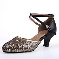 """billige Moderne sko-Dame Moderne Høye hæler Innendørs Kustomisert hæl Gull Svart og Gull Svart og Sølv Rød Blå 2 """"- 2 3/4"""" Kan spesialtilpasses"""