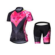 Malciklo Žene Dugih rukava Biciklistička majica s kratkim hlačama - Crn Uglađeni Geometic Bicikl Podstavljene kratke hlače Biciklizam