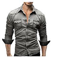 男性用 シャツ ストリートファッション ソリッド コットン / 長袖