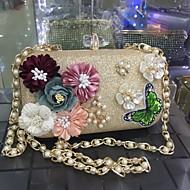 baratos Clutches & Bolsas de Noite-Mulheres Bolsas Courino Pedrarias / Miçangas / Pétala para Casamento / Festa / Festa / Eventos Dourado