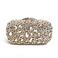 baratos Clutches & Bolsas de Noite-Mulheres Bolsas PU / Metal Bolsa de Festa Detalhes em Cristal Dourado / Rhinestone Crystal Evening Bags / Rhinestone Crystal Evening Bags