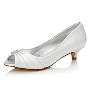 cheap Wedding Shoes-Women's Shoes Silk Spring Fall Wedding Shoes Low Heel Peep Toe Round Toe Open Toe for Ivory