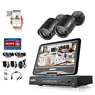 Sannce® 4ch 2pcs 720p lcd dvr weerbestendig beveiligingssysteem ondersteund analoge ahd tvi ip camera zonder hdd