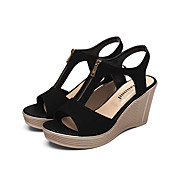 cheap Women's Sandals-Women's Sandals Club Shoes Leather Summer Office & Career Wedge Heel Ruby Coffee Fuchsia Black 5in & over