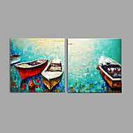 Handmade Thick Knife Oil Painting Coastal ship Wall Art Home Decor Stretched Framed Ready To Hang