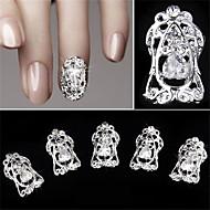 5 pcs Hollow Diamond Zircon False Nail Patch 3D Nail Decoration
