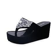 Dame Sandaler Komfort PU Vår Sommer Avslappet Formell Komfort Flat hæl Hvit Svart Fuksia Rosa Flat