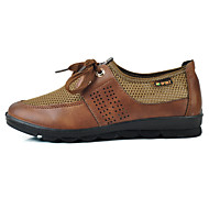 Dame Flate sko Komfort Tyll Mikrofiber Kryss-sesonger Sommer Avslappet Gange Komfort Snøring Flat hæl Brun Rød 2,5 - 4,5 cm