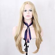 女性 人工毛ウィッグ フロントレース ロング丈 ストレート ブロンド ナチュラルヘアライン ナチュラルウィッグ コスチュームウィッグ