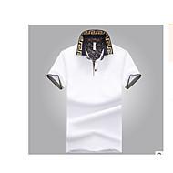 Masculino Camiseta Para Noite Casual Simples Verão,Sólido Algodão Colarinho de Camisa Manga Curta Média