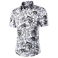 Herre - Paisley Bomuld, Trykt mønster Arbejde Plusstørrelser Skjorte / Kortærmet