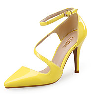 cheap Women's Heels-Women's Shoes Synthetic Patent Leather Spring Summer Comfort Heels Stiletto Heel Pointed Toe for Dress White Black Yellow