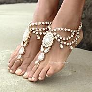 נשים תכשיט לקרסול/צמידים אבן נוצצת סגסוגת אופנתי סגנון בוהמיה Flower Shape תכשיטים ל יומי קזו'אל 1pc