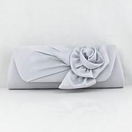 お買い得  イブニングバッグ-女性用 バッグ シルク イブニングバッグ レース / フラワー のために 結婚式 / イベント/パーティー / フォーマル シルバー