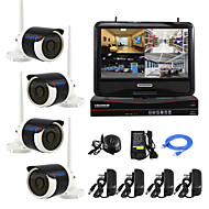 YanSe® Plug and Play 10-inch LCD Screen Wireless NVR Kit P2P 960P HD IR Night Vision Security IP Camera WIFI CCTV System