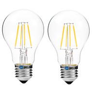 4W フィラメントタイプLED電球 A60(A19) 4 COB 300 lm 温白色 ホワイト V 2個