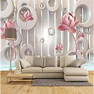 billige Tapet-Spesielt design Blomst 3D Print Hjem Dekor Moderne / Nutidig Tapetsering, Lerret Materiale selvklebende nødvendig Veggmaleri, Tapet