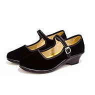Dame Flate sko Komfort Lette såler Tekstil Vår Høst Daglig Avslappet Formell Gange Komfort Lette såler Spenne Tykk hæl Svart 2,5 - 4,5 cm