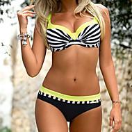 Dame Med stropper Orange Lyserød Gul Cheeky Bikini Badetøj - Stribet Farveblok Trykt mønster L XL XXL Orange / Sexy