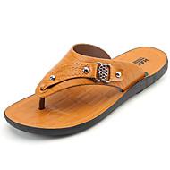 cheap Men's Slippers & Flip-Flops-Men's Shoes PU Spring / Summer Comfort Sandals Yellow / Dark Brown